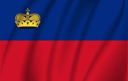 Liechtenstein grunge waving flag. 10 eps