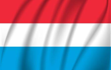 Illustration of waving flag of Luxemburg, isolated flag icon,