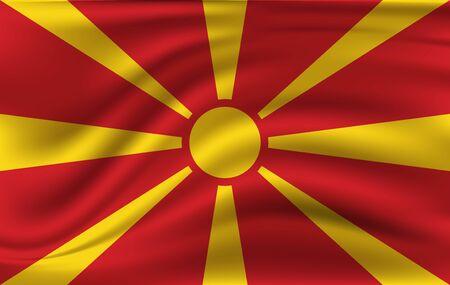 Macedonia waving flag. Macedonia national flag background texture. Vector illustration.