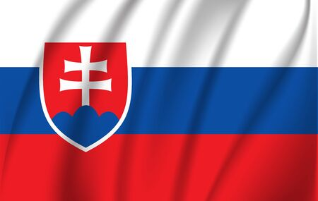 Waving flag of Slovakia, vector 10 eps Ilustracja