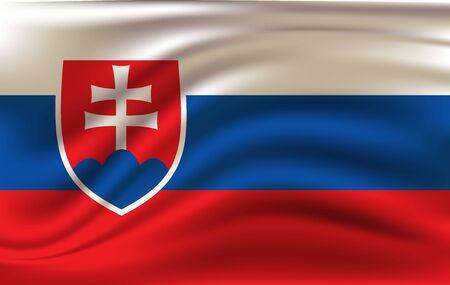Waving flag of Slovakia, vector 10 eps Illusztráció