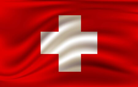 Swiss flag waving in the wind. 10 eps