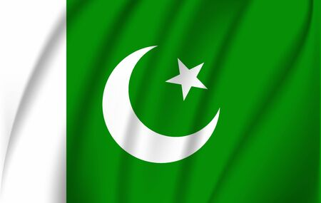 Flag of Pakistan. Realistic waving flag of Islamic Republic of Pakistan. Fabric textured flowing flag of Pakistan.
