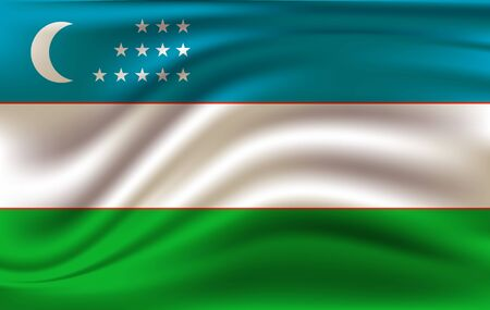 The Flag Of The Republic Of Uzbekistan - vector illustration Illusztráció