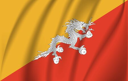 Bhutan waved flag Vector illustration 10 eps