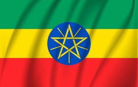 Realistic waving flag of Federal Democratic Republic of Ethiopia. Fabric textured flowing flag of Ethiopia. Vettoriali