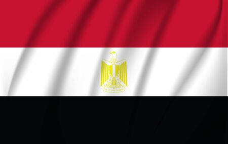 Flag of Egypt. Realistic waving flag of Arab Republic of Egypt. Fabric textured flowing flag of Egypt.