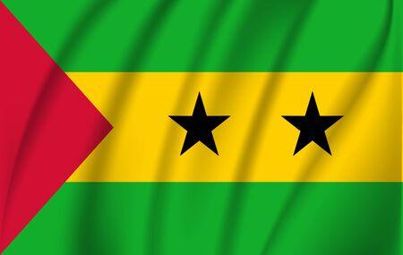 Flag of Sao Tome and Principe. Realistic waving flag of Sao Tome and Principe. Fabric textured flowing flag of Sao Tome and Principe.