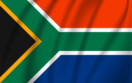 Realistic waving flag of Republic of South Africa. Fabric textured flowing flag of South Africa. Ilustração Vetorial