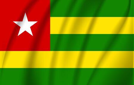 Realistic waving flag of Togolese Republic. Fabric textured flowing flag of Togo. Illusztráció