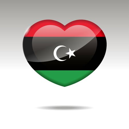 Love LYBIA symbol. Heart flag icon Ilustração