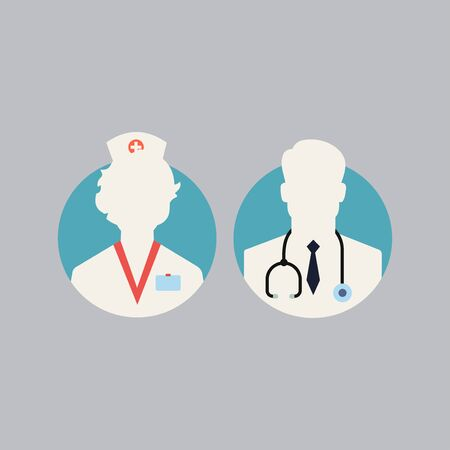 Doctor flat line icons. Editable Stroke. Change to any size and any colour. 10 eps