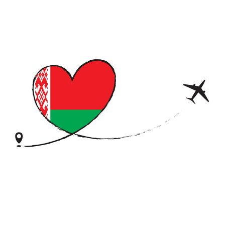Flag of Belarus love romantic travel plane airplane Airplane airplane flight fly jet airline line vector path fun funny pin location pointer route trail sign track holiday 10 eps