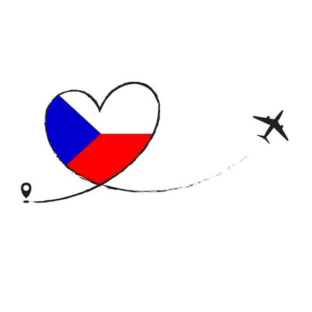 Czech flag love romantic travel plane airplane Airplane airplane flight fly jet airline line vector path fun funny pin location pointer route trail sign track vacation.