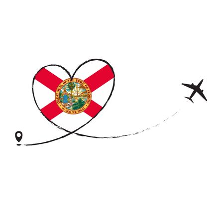 Flag Florida Love Romantic travel Airplane air plane Aircraft Aeroplane flying fly jet airline line path vector fun funny pin location pointer route trace sign track vacation holliday