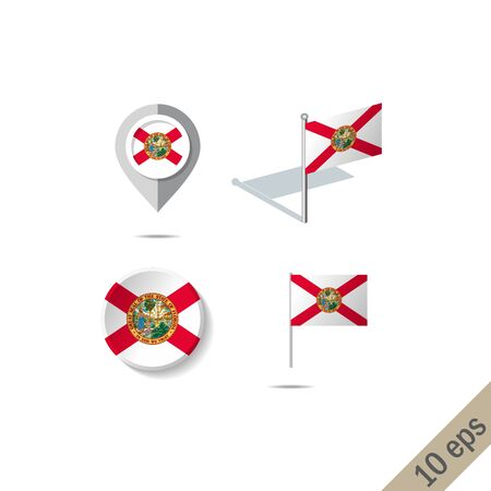Map pins with flag of Florida . Navigation icons.