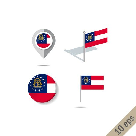 Map pins with flag of Georgia . Navigation icons. Foto de archivo