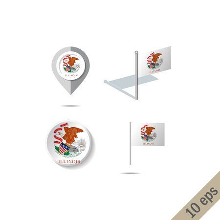 Map pins with flag of Illinois . Navigation icons.