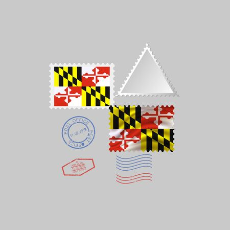 Postage stamp with the image of Maryland state flag. Hawaii Flag Postage on gray background with shadow. Illustration. Banque d'images