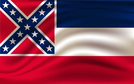 Waving Flag of Mississipi is a state of USA. illustrationWaving Flag of Mississipi is a state of USA. illustration