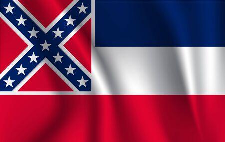Waving flag of Mississipi. Banque d'images