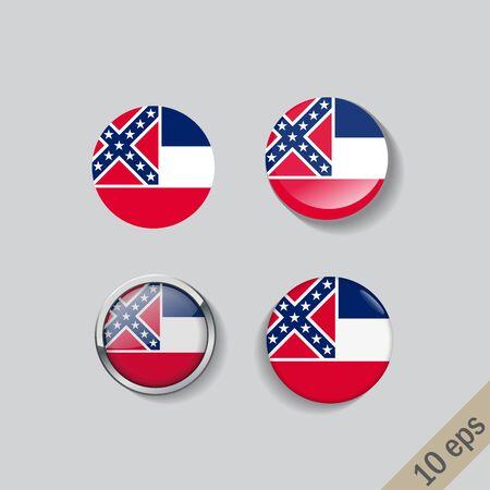 Set of Mississipi flag glass buttons. illustration.