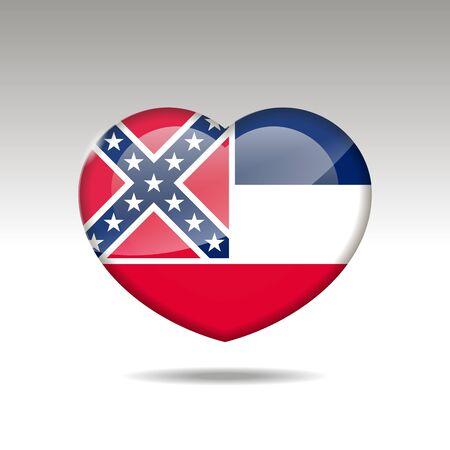 Love Mississipi state symbol. Heart flag icon.