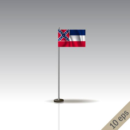 Mississipi flag template. Waving Mississipi flag on a metallic pole, isolated on a gray background.