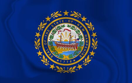 Waving Flag of New Hampshire is a state of USA. illustration. Waving Flag of New Hampshire is a state of USA. illustration Standard-Bild