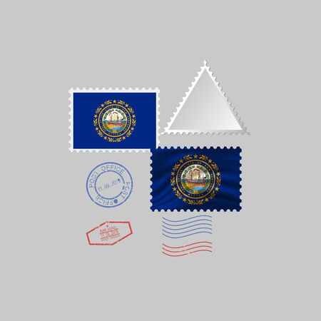 Postage stamp with the image of New Hampshire state flag. Hawaii Flag Postage on gray background with shadow. Illustration.