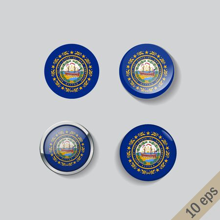 Set of New Hampshire flag glass buttons. illustration.