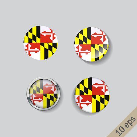 Set of Maryland flag glass buttons. illustration.
