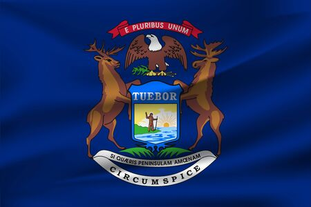Waving Flag of Michigan is a state of USA. illustrationWaving Flag of Michigan is a state of USA. illustration