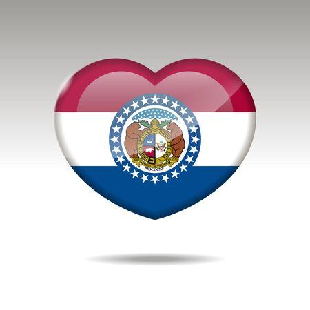 Love Missouri state symbol. Heart flag icon. illustration.