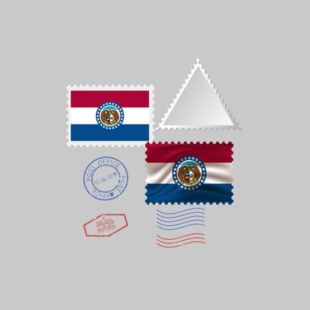 Postage stamp with the image of Missouri state flag. Hawaii Flag Postage on gray background with shadow. Illustration.