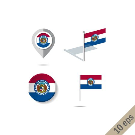 Map pins with flag of Missouri . Navigation icons.