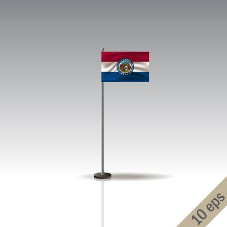 Missouri flag template. Waving Missouri flag on a metallic pole, isolated on a gray background.