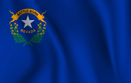 Waving Flag of NEVADA is a state of USA. illustrationWaving Flag of NEVADA is a state of USA. illustration