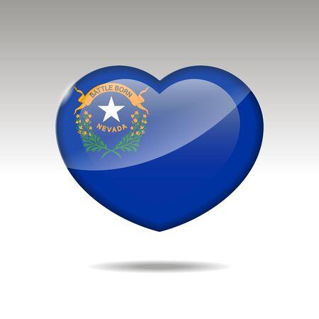 Love NEVADA state symbol. Heart flag icon. illustration.