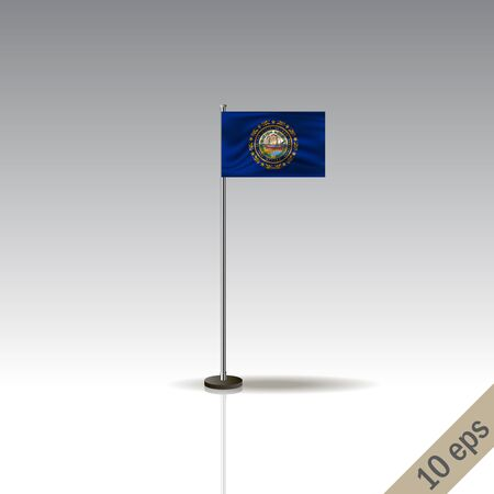 New Hampshire flag template. Waving New Hampshire flag on a metallic pole, isolated on a gray background.