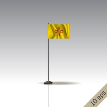 New Mexico flag template. Waving New Mexico flag on a metallic pole, isolated on a gray background.