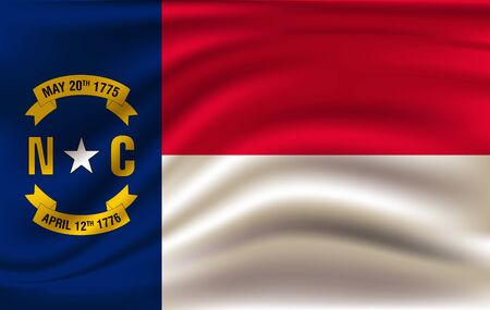 Waving Flag of North Carolina is a state of USA. illustration. Waving Flag of North Carolina is a state of USA. illustration Standard-Bild