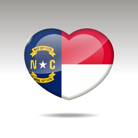Love North Carolina state symbol. Heart flag icon. illustration. Standard-Bild