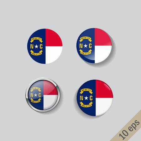 Set of North Carolina flag glass buttons. illustration.