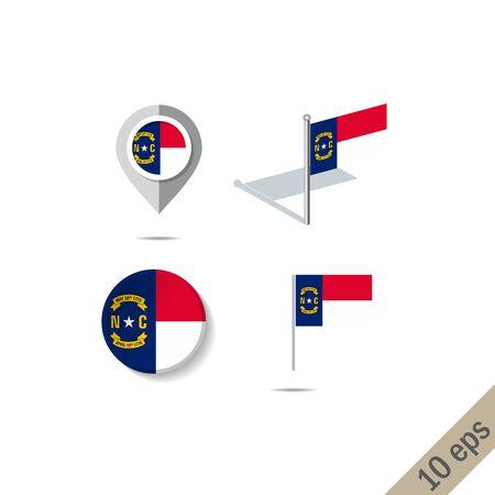 Map pins with flag of North Carolina . Navigation icons. Standard-Bild