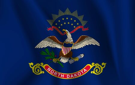 Waving Flag of North Dakota is a state of USA. illustration. Waving Flag of North Dakota is a state of USA. illustration Standard-Bild