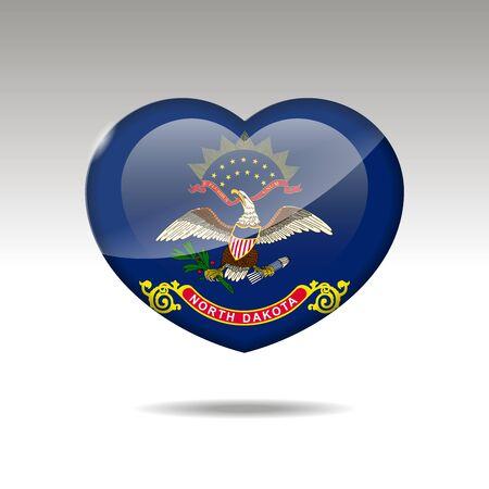 Love North Dakota state symbol. Heart flag icon. illustration.