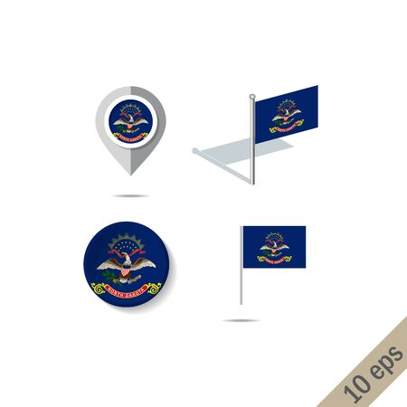 Map pins with flag of North Dakota . Navigation icons.