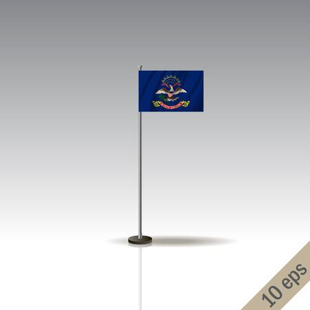 North Dakota flag template. Waving North Dakota flag on a metallic pole, isolated on a gray background.