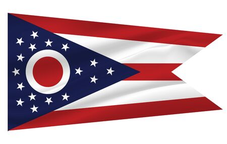 Waving Flag of Ohio is a state of USA. illustration. Waving Flag of Ohio is a state of USA. illustration